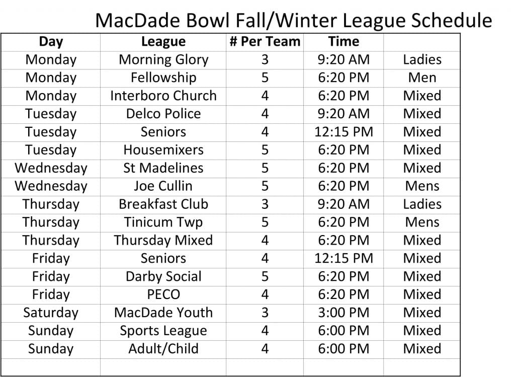 fall league schedule